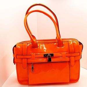 {Melie Bianco} Neon Orange Patent Tote Bag